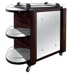 "1950's Dry Bar ""Tugas"" on Wheels, Mahogany, Glass, Mirror, Pivoting Door, France"