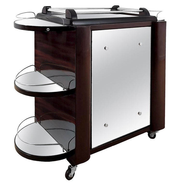 """1950's Dry Bar """"Tugas"""" on Wheels, Mahogany, Glass, Mirror, Pivoting Door, France For Sale"""
