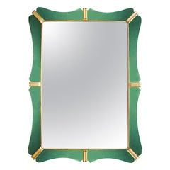 1950s Large Mirror, Green Mirrors Frame and Golden Leaf Wood, Italy