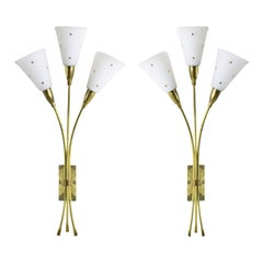 1950s Pair of Large Wall Lights, Brass, White Opal Glass Lampshades, France