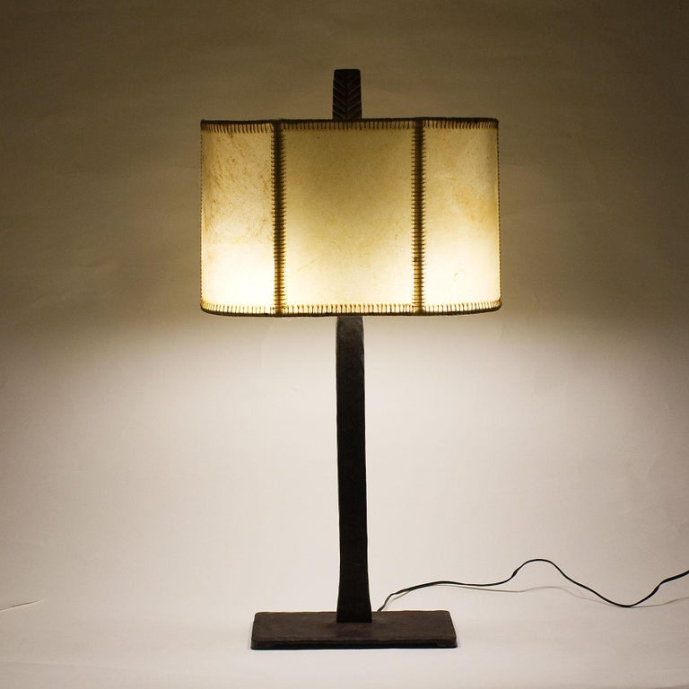 1950s Pair of Table Lamps, Wrought Iron, Parchment, Barcelona For Sale 8