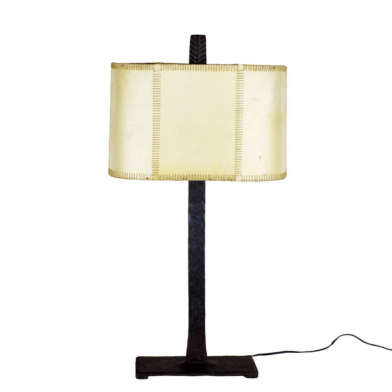 Mid-Century Modern 1950s Pair of Table Lamps, Wrought Iron, Parchment, Barcelona For Sale