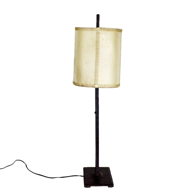 Spanish 1950s Pair of Table Lamps, Wrought Iron, Parchment, Barcelona For Sale