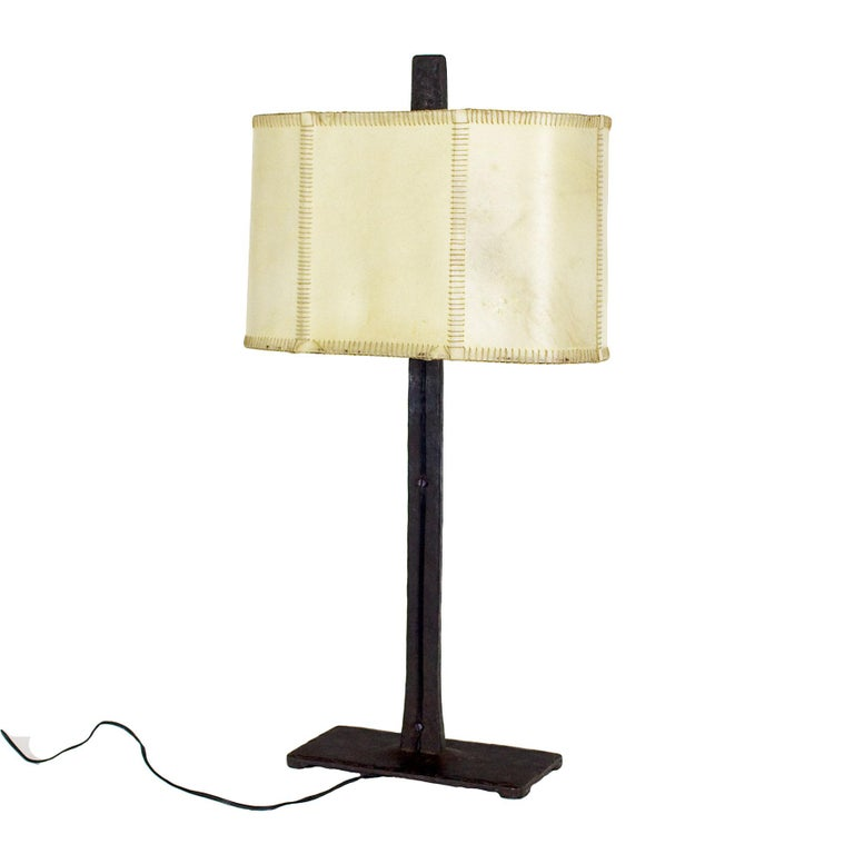 1950s Pair of Table Lamps, Wrought Iron, Parchment, Barcelona In Good Condition For Sale In Barcelona, ES