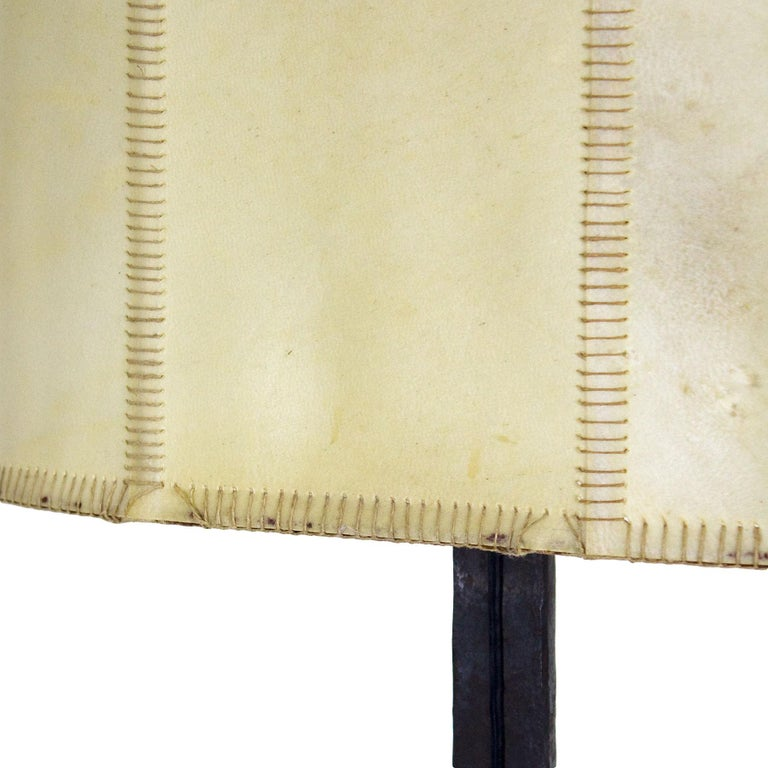 1950s Pair of Table Lamps, Wrought Iron, Parchment, Barcelona For Sale 2