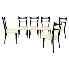 1950´s Set of Six Chairs, Beech, Leather, Italy