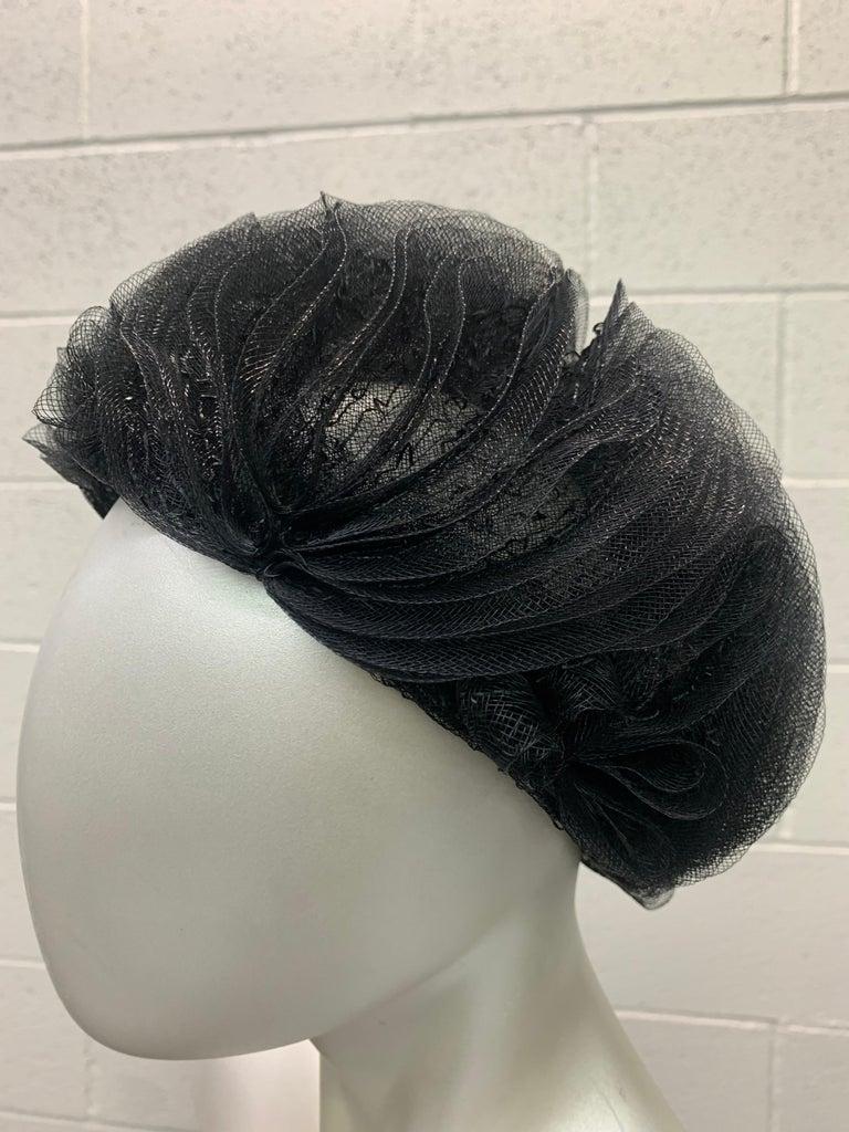 Women's 1950 Schiaparelli Black Horsehair Braided Dome Hat W/Bows For Sale