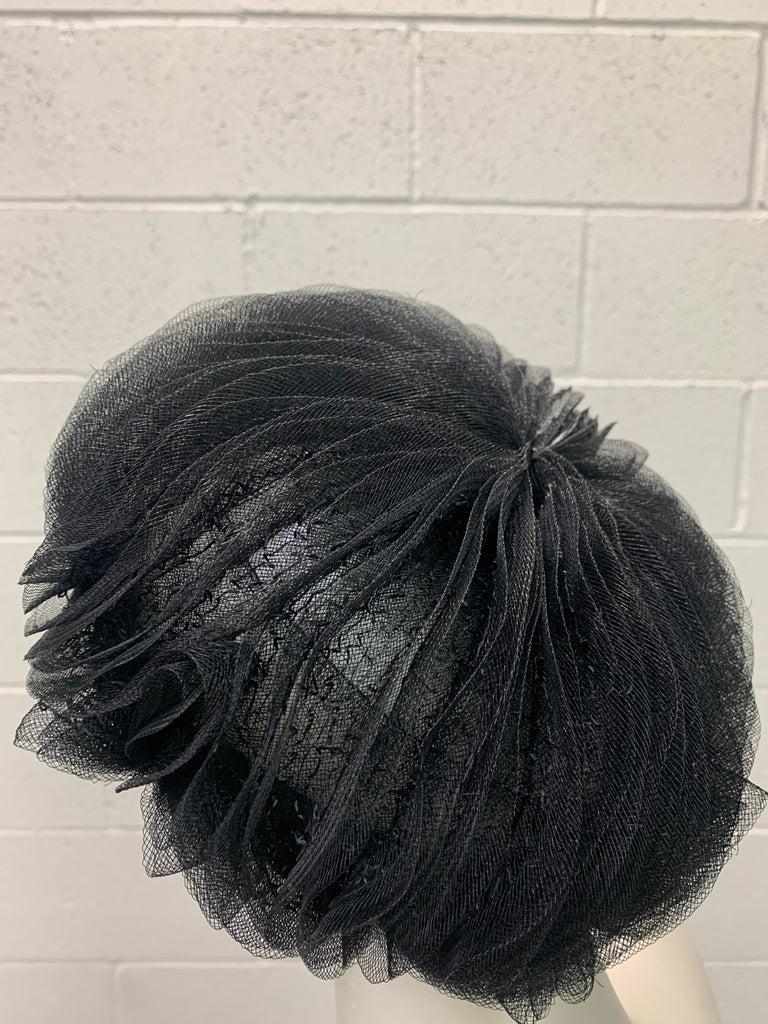 1950 Schiaparelli Black Horsehair Braided Dome Hat W/Bows For Sale 1