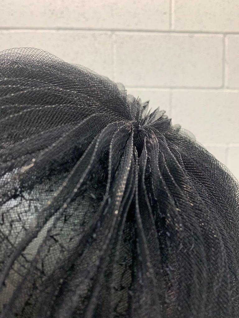 1950 Schiaparelli Black Horsehair Braided Dome Hat W/Bows For Sale 2