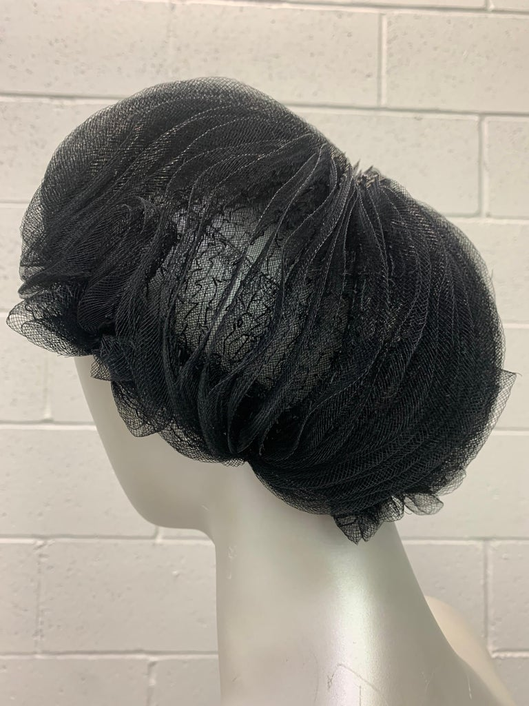 1950 Schiaparelli Black Horsehair Braided Dome Hat W/Bows For Sale 3