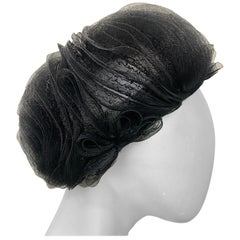 1950 Schiaparelli Black Horsehair Braided Dome Hat W/Bows