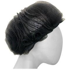 1950 Schiaparelli Black Horsehair Braided Dome Hat W/Bows