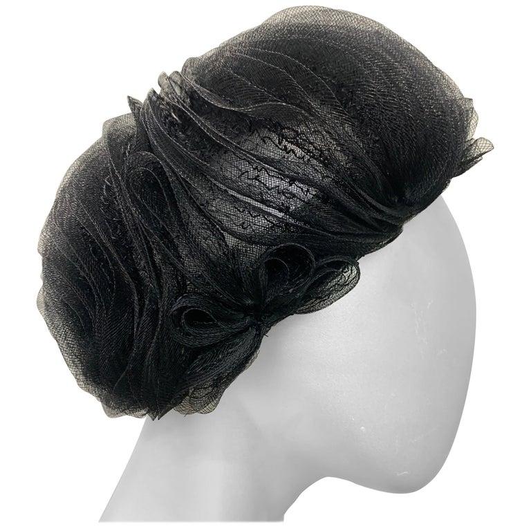 1950 Schiaparelli Black Horsehair Braided Dome Hat W/Bows For Sale