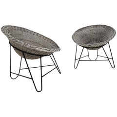 1950 Set of Two French Wicker Chairs in an Great Patina