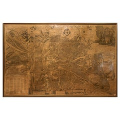 1950 Spanish Cartographic Copy of Pedro Texeira Map of Madrid of 17th Century