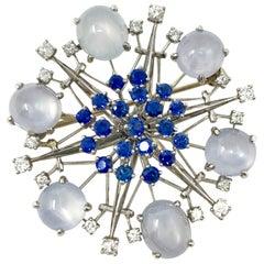 1950 Star Sapphire, Blue Sapphire and Diamond Broach in Platinum