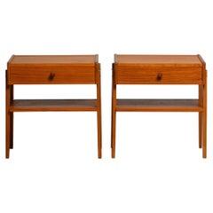 1950 Teak Nightstands Bedside Tables by Carlström & Co Mobelfabrik Sweden, Pair