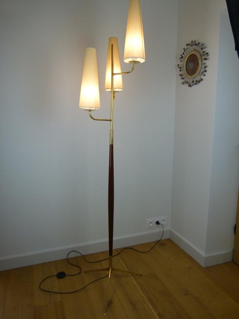 1950 Triple Lighting Floor Lamp by Maison Lunel For Sale 3