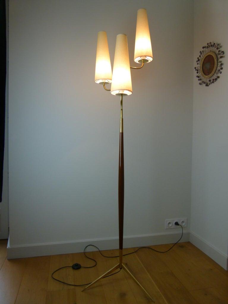 1950 Triple Lighting Floor Lamp by Maison Lunel For Sale 4