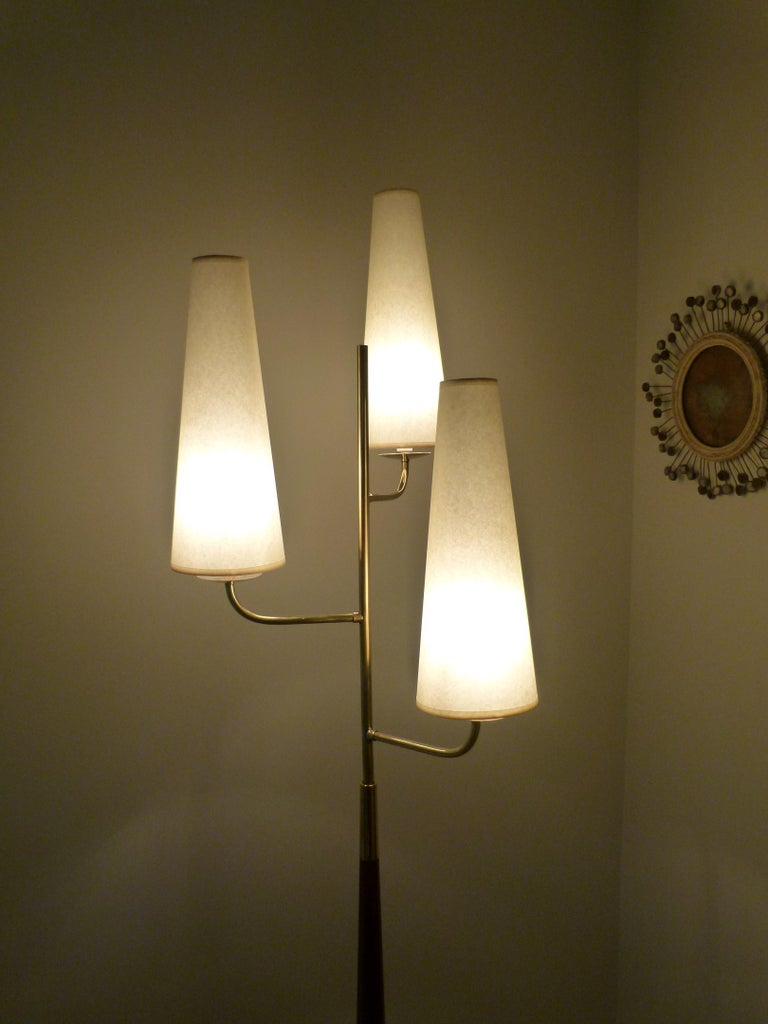 Mid-Century Modern 1950 Triple Lighting Floor Lamp by Maison Lunel For Sale