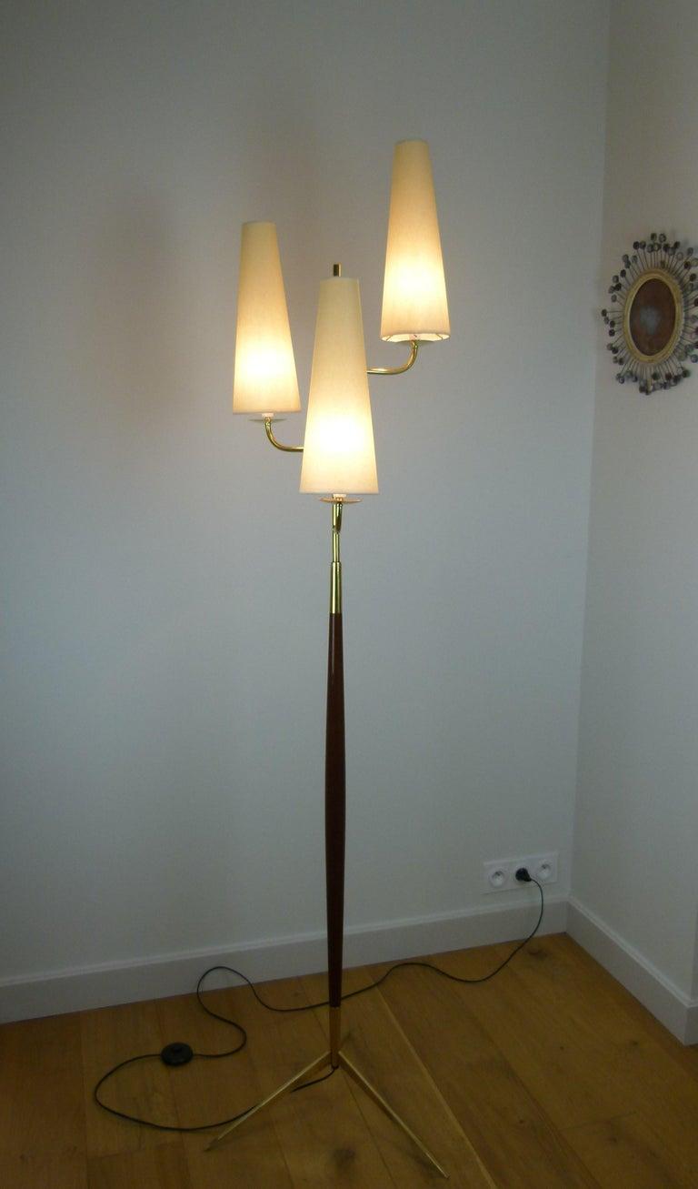 1950 Triple Lighting Floor Lamp by Maison Lunel For Sale 1