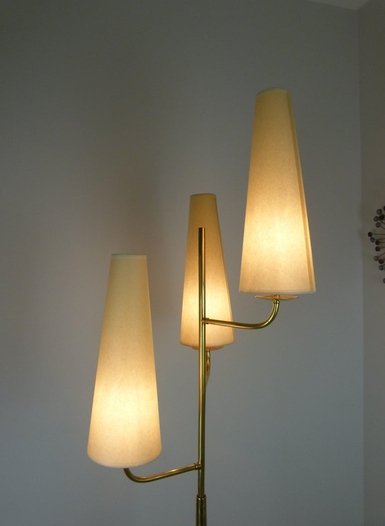 1950 Triple Lighting Floor Lamp by Maison Lunel For Sale 2