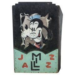 1950 Vintage American Folk Art Band Stand Hand Painted Goofy Jazz Music Stand