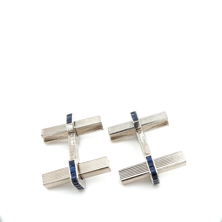 1950 Vintage Boucheron Paris Cufflinks, Stirrup, 3.08 Carat Sapphire, 18 Kt Gold For Sale 4