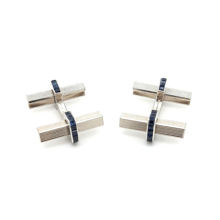 Art Deco 1950 Vintage Boucheron Paris Cufflinks, Stirrup, 3.08 Carat Sapphire, 18 Kt Gold For Sale
