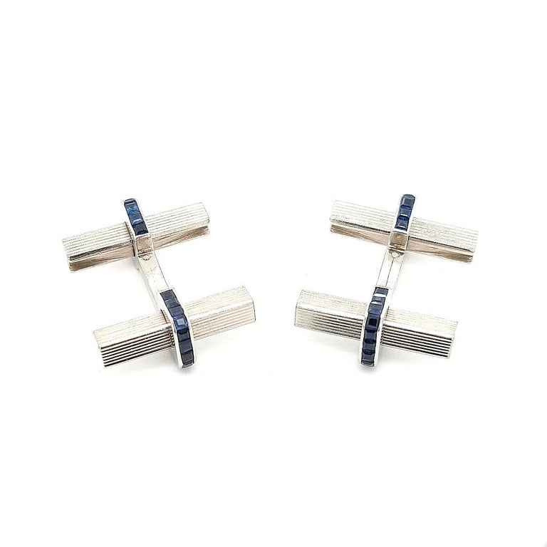 1950 Vintage Boucheron Paris Cufflinks, Stirrup, 3.08 Carat Sapphire, 18 Kt Gold For Sale 1