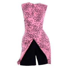 1950 Vintage Brigance Pink & Black Abstract Print Playsuit W High Waisted Shorts