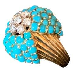 1950 Vintage Cocktail Ring 18 K Yellow Gold Turquoise Diamonds