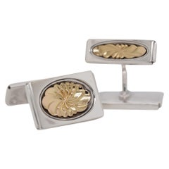 1950 Vintage Georg Jensen 18k Gold Sterling Silver Cufflinks 59A Denmark Art