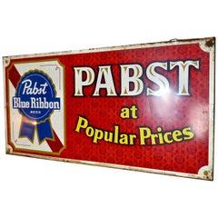 1950 Vintage Pabst Blue Ribbon Metal Sign