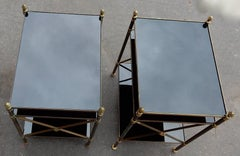 1950/70' Pair of Shelves 3 levels In The Style Of Maison Bagués, Black Opaline