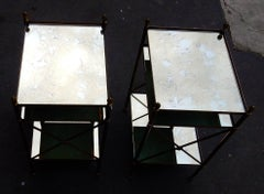1950/70' Pair of Shelves 3 levels  Style Of Maison Bagués, Oxyded Olded Mirror