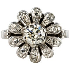 1950s 0.080 Carat Diamonds 18 Karat White Gold Flower Shape Ring