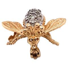 1950s 0.20 Carat Diamond Bee Brooch, 14 Karat Two-Tone Gold