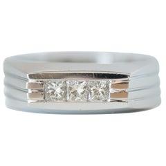 1950s 0.35 Carat Diamond and 14 Karat White Gold Band Ring