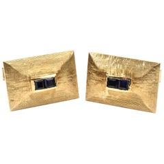1950s 0.36 Carat Sapphire 14 Karat Yellow Gold Cufflinks