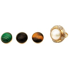 1950s 0.5 Carat Diamond Ring with 4 Optional Gemstone Tops