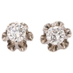 1950s 0.50 Carat Total Diamond Stud Tulip Earrings, 14 Karat White Gold