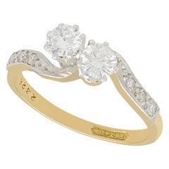 1950s 0.65 Carat Diamond Yellow Gold Platinum Set Twist Ring