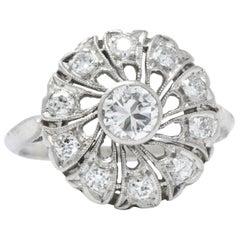 1950s 0.72 Carat Diamond Cluster Platinum Alternative Engagement Ring