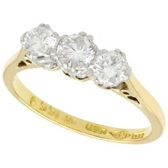 1950s 0.83 Carat Diamond and Yellow Gold Trilogy Ring