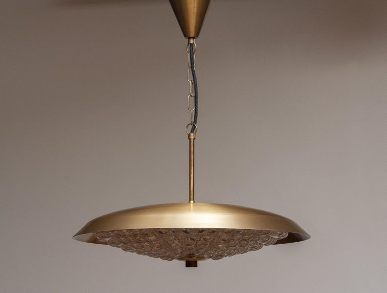 1950s, 1 Brass and Glass Ceiling Lamp Designed by Carl Fagerlund for Orrefors 1