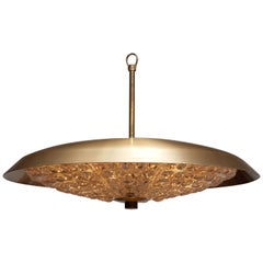 1950s, 1 Brass and Glass Ceiling Lamp Designed by Carl Fagerlund for Orrefors