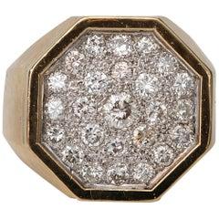 1950s 1 Carat Diamond Cluster Octagonal 18 Karat Gold Ring