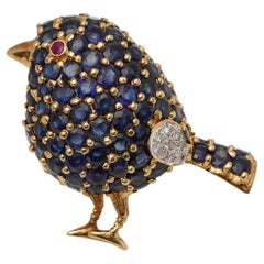 1950s 1 Carat Sapphire Bird with Ruby and Diamond Accents Pin Brooch