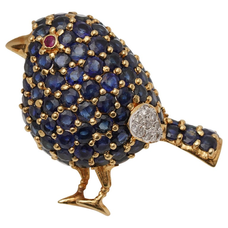 1950s 1 Carat Sapphire Bird with Ruby and Diamond Accents Pin Brooch For Sale